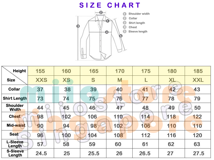 Pilot Uniform - Sizing Chart
