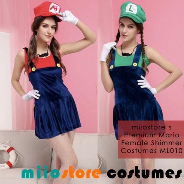 Ladies Premium Mario & Luigi Shimmer Costumes ML010
