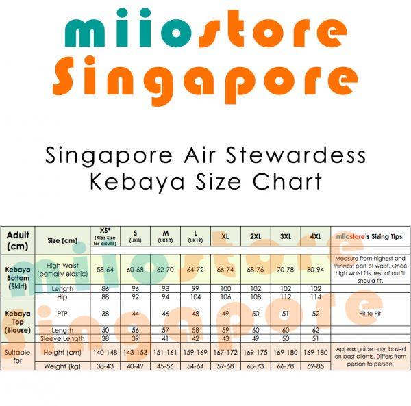 miiostore Singapore Air Stewardess Kebaya Size Chart SQ