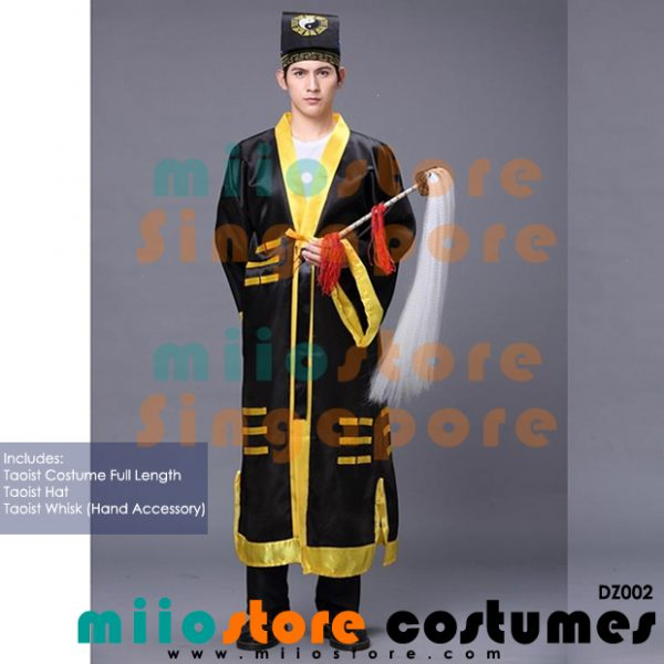 Taoist Religious Costumes (Black) with Whisk - miiostore Costumes Singapore - DZ002