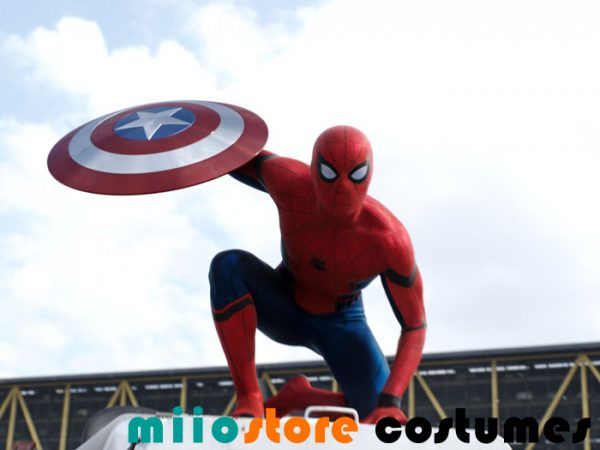 Spiderman with XL 47cm Captain America Shield