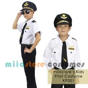 Kids Pilot Costume Uniform Set