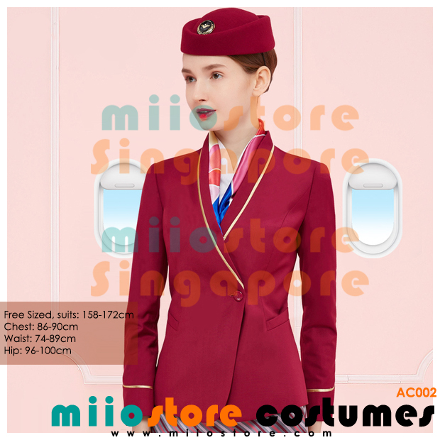 miiostore's Red Stewardess Emirates Inspired Costumes - miiostore Costumes Singapore - AC002