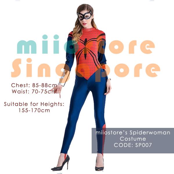 Spiderwoman Long Sleeved Costumes - SP007 - miiostore Costumes Singapore
