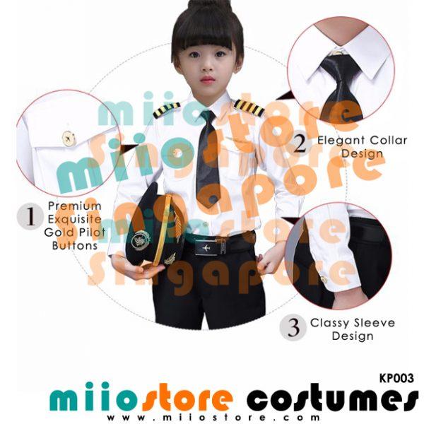 Kids Premium Pilot Uniform Set KP003 - miiostore Costumes Singapore